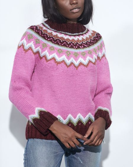 Happy Sheep Raglan Funnel Neck Sweater - Bubble