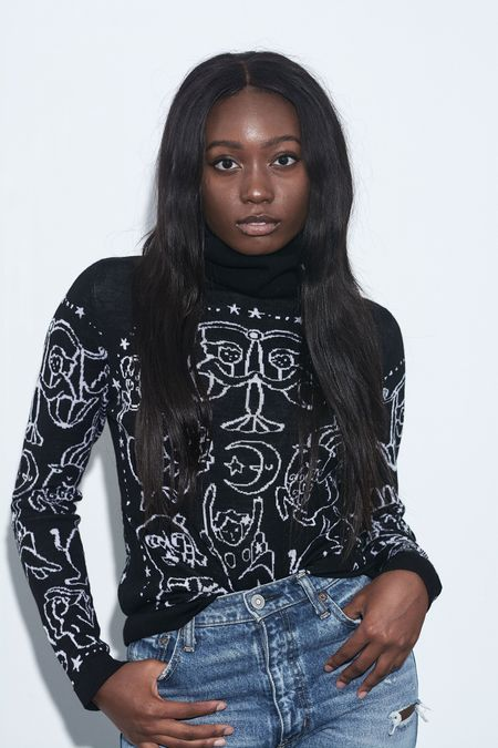 Happy Sheep Zodiac Turtleneck Sweater - Black