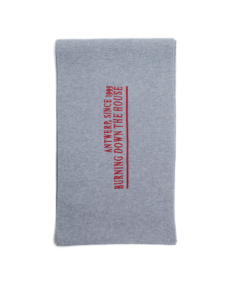 Raf Simons Embroidered Wool and Cashmere Scarf - Grey