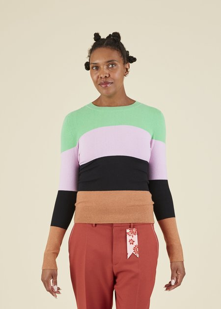 JOOSTRICOT Colorblock Crewneck Sweater - Cinnamon/Multi