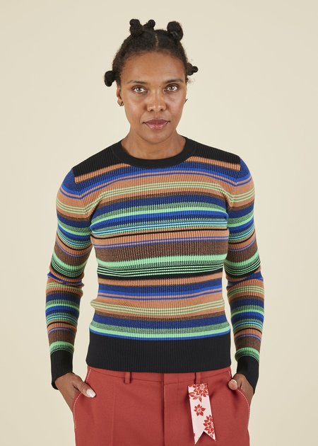 JOOSTRICOT Variegated Stripe Crewneck Sweater - Treefrog/Multi