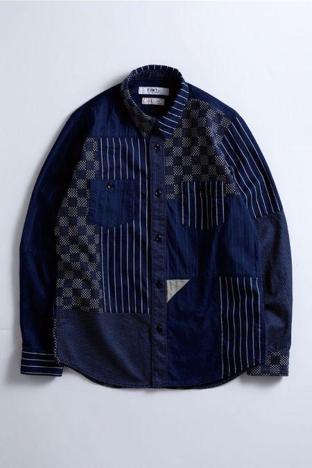 FDMTL Boro Patchwork Shirt Rinse - Indigo