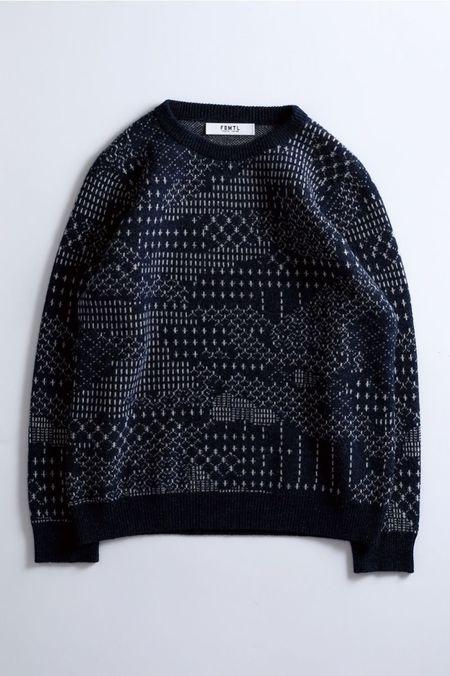 FDMTL Patchwork Wool Sweater - NAVY
