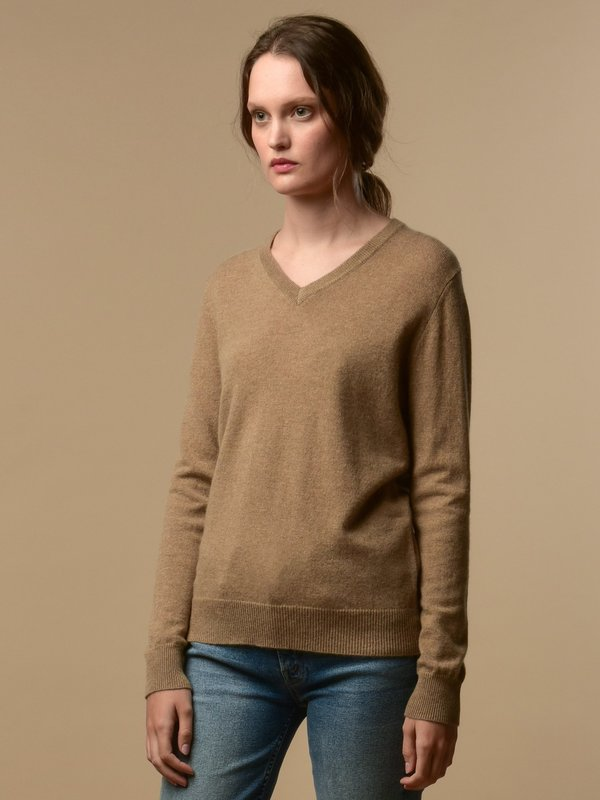 PURE CASHMERE NYC V Neck Sweater Dark Beige