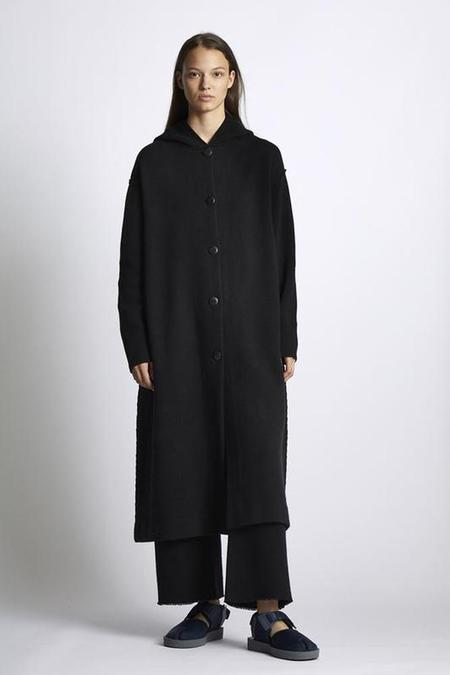 unisex Oyuna Knitted Jacquard Hooded Coat - black