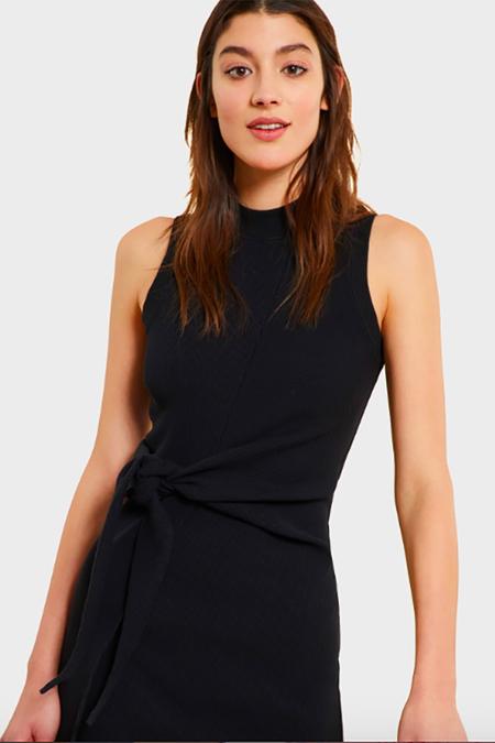 Kinly Rib Knit Tie Waist Dress