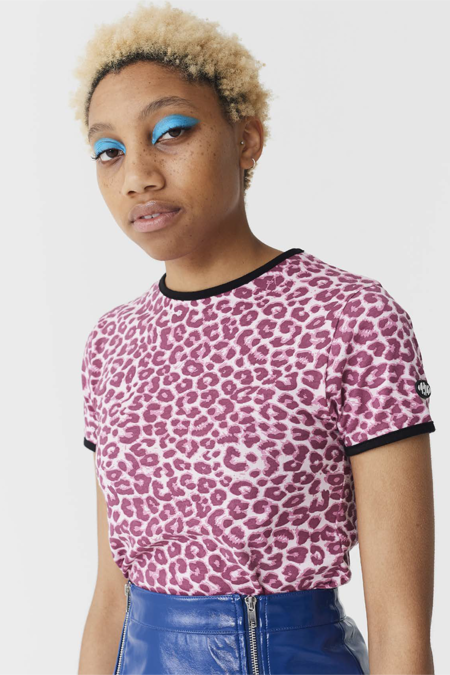 Lazy Oaf Fitted Tee - Pink Leopard