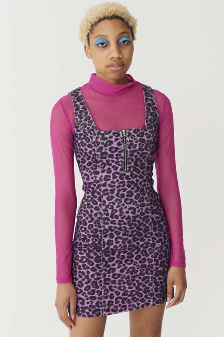 Lazy Oaf Zip Up Dress - Purple Leopard