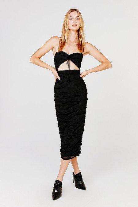 For Love & Lemons  Poison Ruched Dress - Black