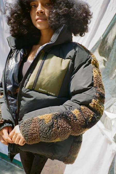 Sandy Liang CATAN PUFFER - Black/Camo