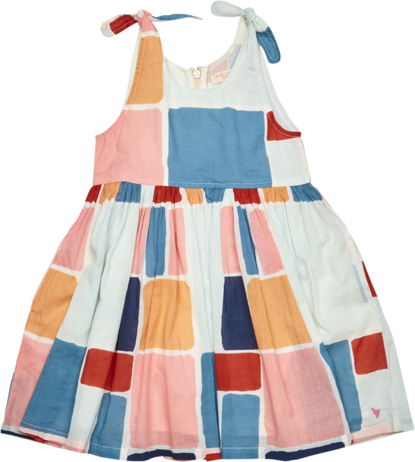 kids Pink Chicken Taylor Dress - Multi Paint Square