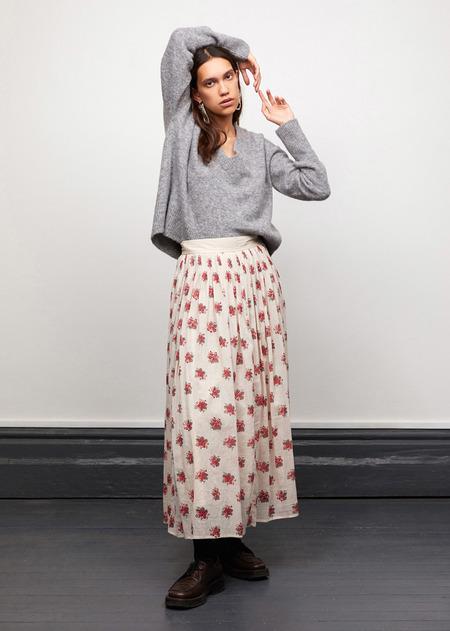 Caramel Smocked Skirt - Bouquet Print