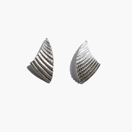 Another Feather Shell Earrings - Silver