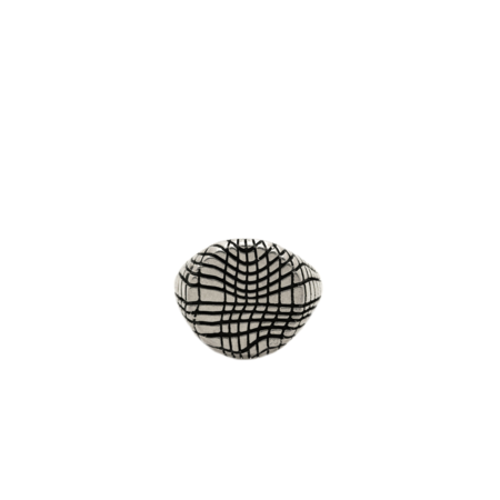 Youthful Peoples Grid Signet Ring - Silver