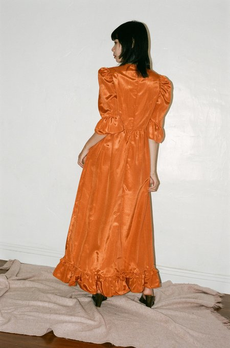 BATSHEVA Button-Up Long Prairie Dress - Orange Moire