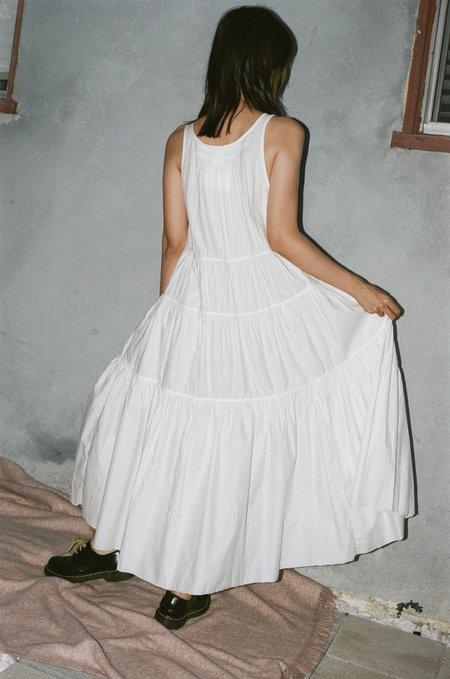 Vivien Ramsay Sleeveless Peasant Dress - White
