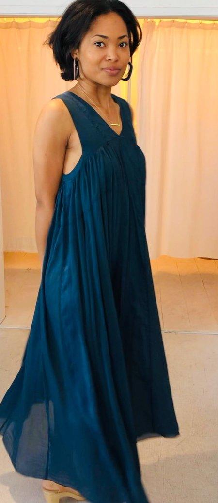 Forte Forte My Dress Cose Voile Long Dress w/ Silk Details - Cobalto