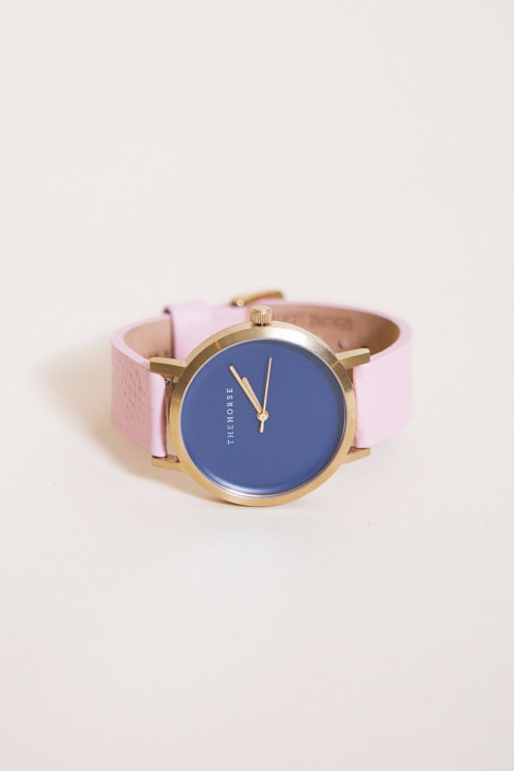 The Horse Original Leather Watch / Brushed Gold, Navy Face, Musk Band