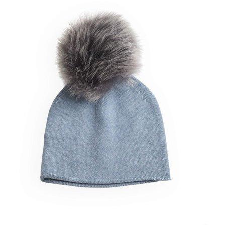 KIDS belle enfant pompom hat rabbit fur trim - soft blue