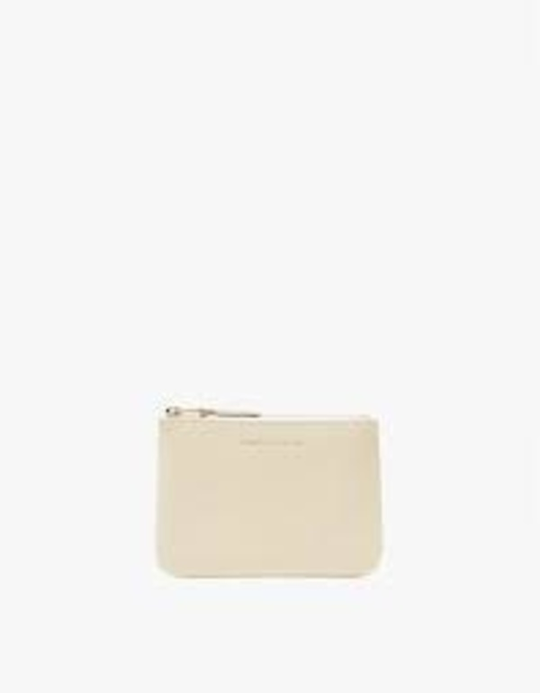 Comme Des Garçons Small Leather Zip Pouch - Off White