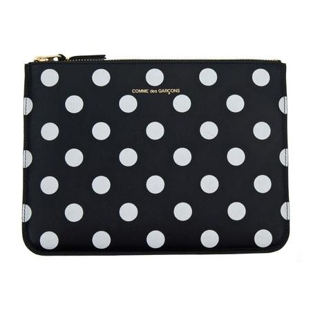 Comme Des Garçons Large Leather Zip Pouch - Black/White Polka Dot