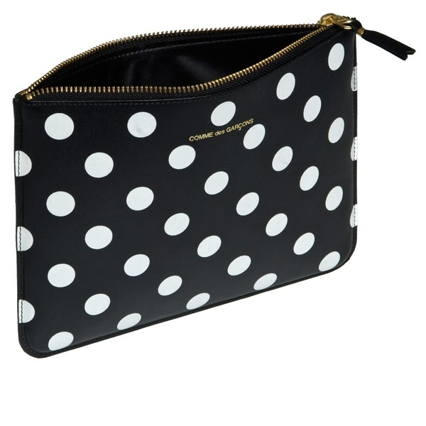 Comme Des Garçons Large Leather Zip Pouch - Black/White Polka Dot