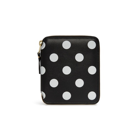 Comme des Garçons Full Zip Wallet - Black/White Polka Dot