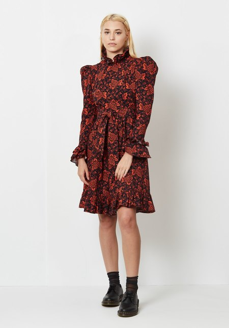 Batsheva Ruffle Collar Prairie Dress - Red Grape