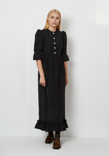 Batsheva Button Up Long Prairie Dress - Black Moire