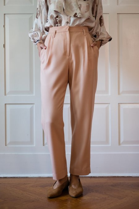 Chistine Alcalay Pleated Taper Wool Twill Trouser