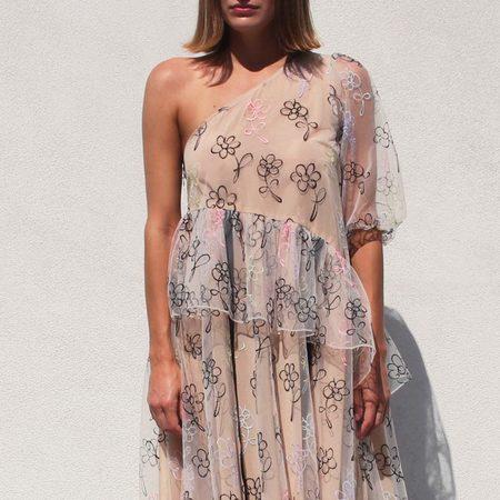 Sandy Liang Sunday Dress - Beige Scribble