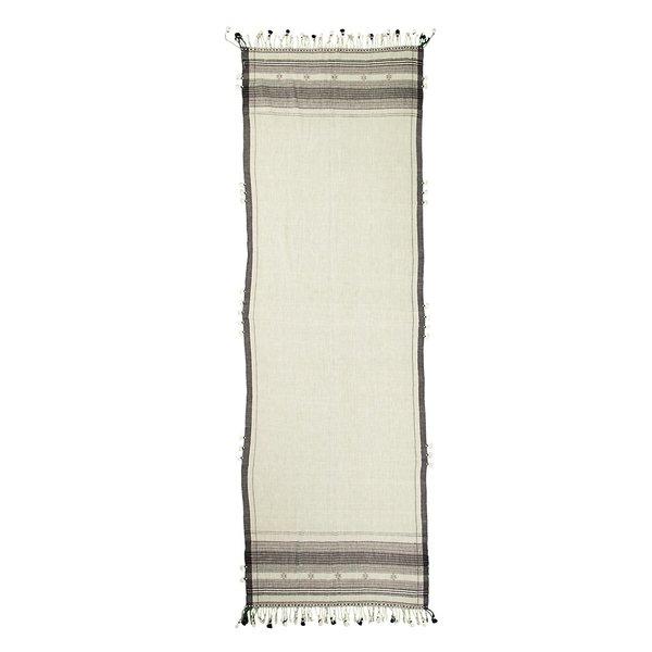 INJIRI HANDWOVEN COTTON SCARF - Black/White