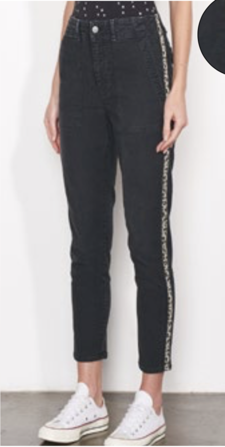 Sundry No. 44 Trouser with Leopard Trim - SULFUR COAL