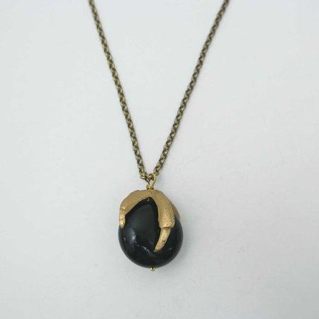 By Natalie Frigo Claw Necklace - Black Lucite