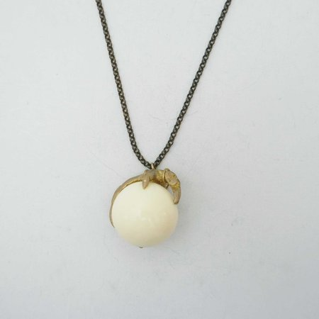By Natalie Frigo Claw Necklace - White Lucite