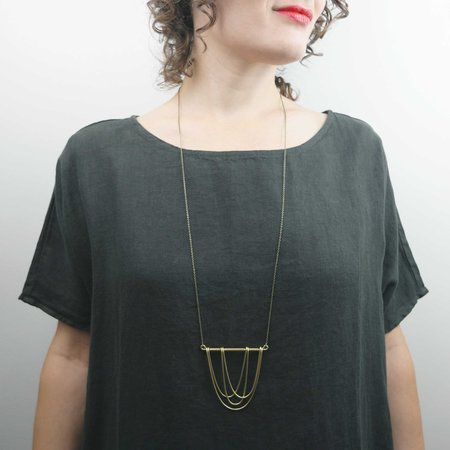 Hellbent Four Curves Necklace - Brass