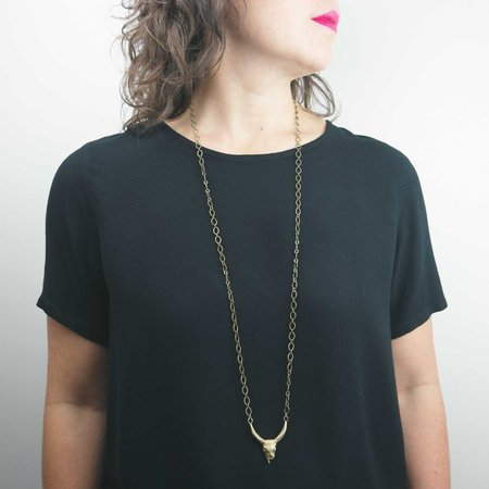 By Natalie Frigo Large Cow Skull Necklace - Recycled brass