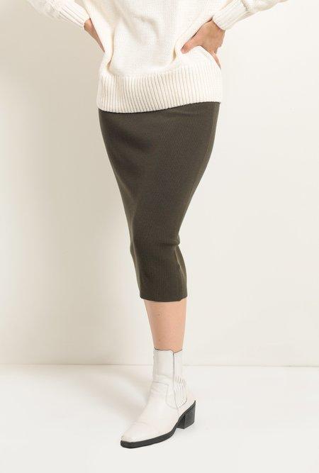 Azalea Evansville Ribbed Midi Skirt - green
