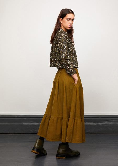 Caramel Pleat Front Shirt - Liberty Mina Dark Green