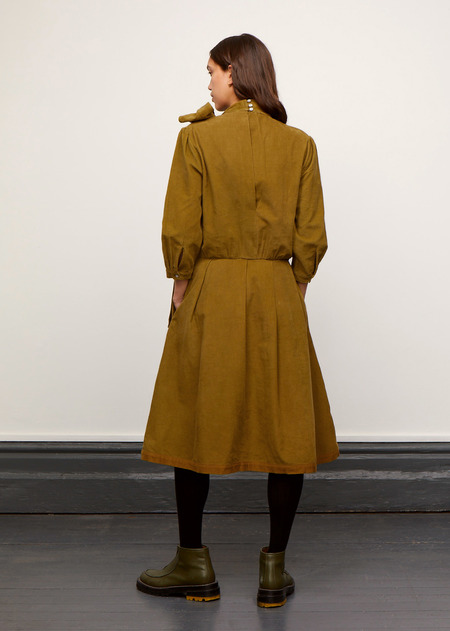 Caramel Neck Tie Dress - Mustard