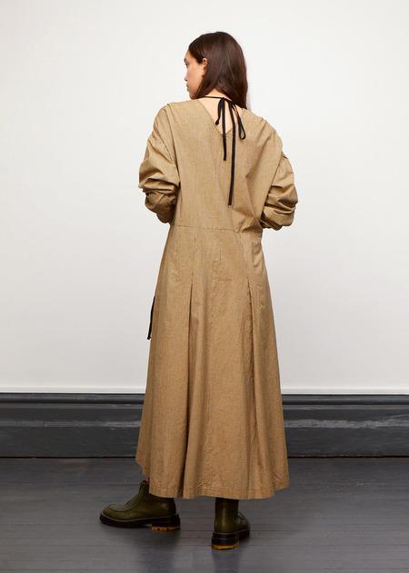 Caramel Waist Tie Dress - Forest Microcheck