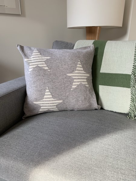 Brodie Cashmere Star Cushion Cover Pillow - Flint Grey
