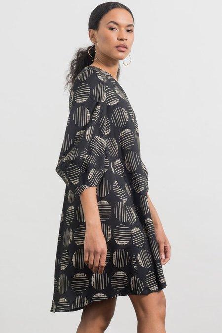 Jennifer Glasgow Durga Dress - Black/Ivory Print