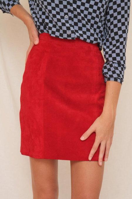 Vintage Leather Mini Skirt - Red