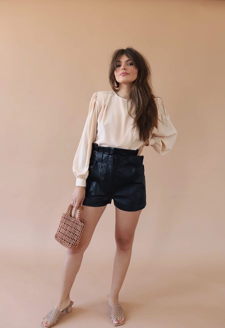 Line & Dot Vegan Leather Shorts - Black