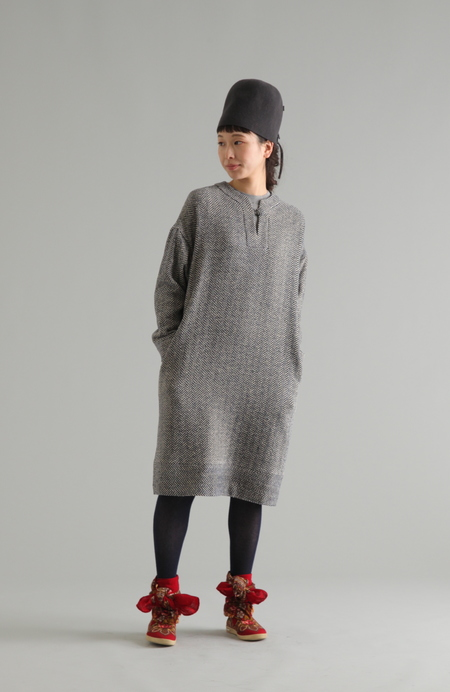PLAINLESS HERRINGBONE TUNIC DRESS - blue