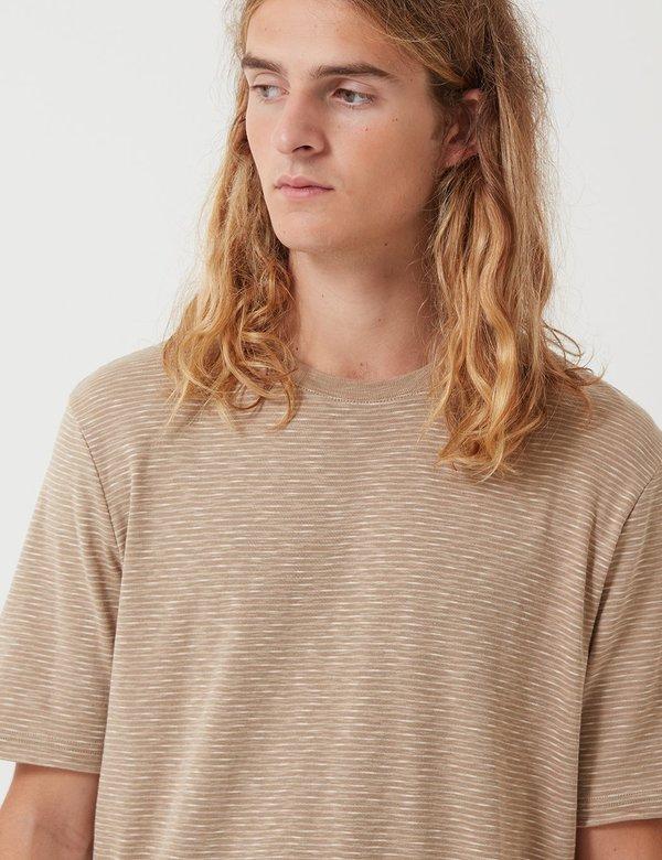 Folk Fine Stripe T-Shirt - Stone/Ecru