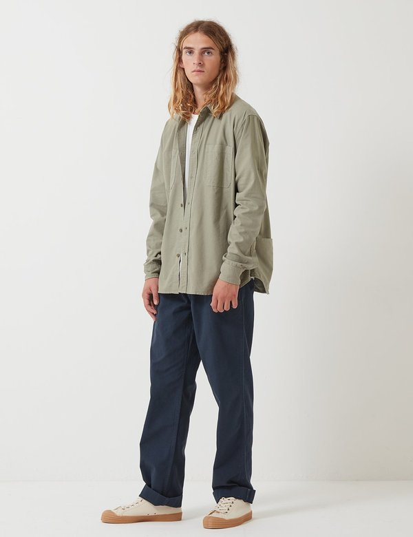 Nigel Cabourn Welder Pocket Oxford Shirt - Washed Army Green