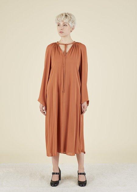 VOZ Bell Sleeve Silk Dress - Terracotta