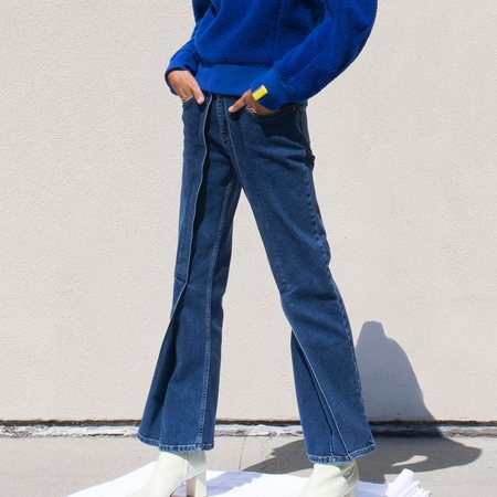 Aalto Crop Flared Denim Pant - Blue